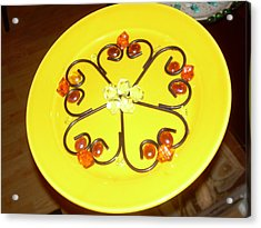 Dinner Plate Flowers Acrylic Print by Diane Morizio