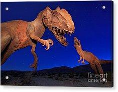 Dinosaur Battle In Jurassic Park Acrylic Print