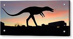Dinosaur Loose On Route 66 Acrylic Print by Mike McGlothlen