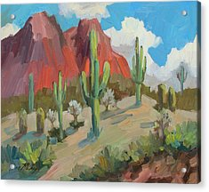 Acrylic Print featuring the painting Dinosaur Mountain by Diane McClary