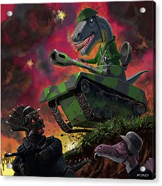 Acrylic Print featuring the painting Dinosaur War 01 by Martin Davey