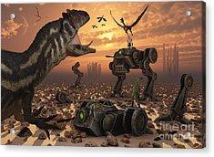 Dinosaurs And Robots Fight A War Acrylic Print by Mark Stevenson