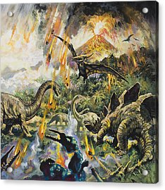 Dinosaurs And Volcanoes Acrylic Print