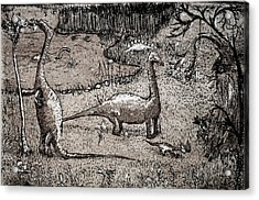 Acrylic Print featuring the drawing Dinosaurs by Josean Rivera