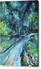 Dirt Road In Blue Acrylic Print by Michele Carter