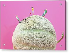 Acrylic Print featuring the painting Dirty Cleaning On Sweet Melon II Little People On Food by Paul Ge