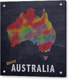 Discover Australia Map Hand Drawn Country Illustration On Chalkboard Vintage Travel Promotional Post Acrylic Print by Design Turnpike