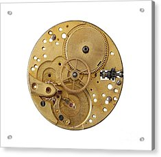 Acrylic Print featuring the photograph Dismantled Clockwork Mechanism by Michal Boubin