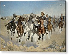 Dismounted The Fourth Troopers Moving The Led Horses Acrylic Print by Frederic Remington