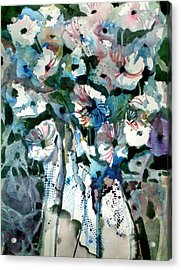 Acrylic Print featuring the painting Disney Petunias by Mindy Newman