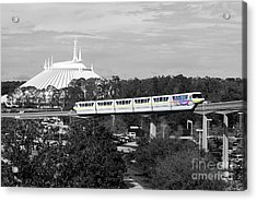 Acrylic Print featuring the photograph Disney World Monorail Color Splash Black And White Prints by Shawn O'Brien