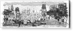 Disneyland Small World Panorama Pa Bw Acrylic Print by Thomas Woolworth