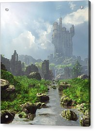 Distant Castle Acrylic Print by Cynthia Decker