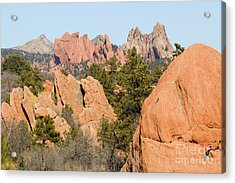 Distant Garden Of The Gods From Red Rock Canyon Acrylic Print