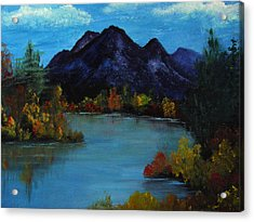 Distant Mountain View Acrylic Print by Rhonda Myers