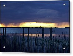 Distant Storms At Sunset Acrylic Print by DigiArt Diaries by Vicky B Fuller