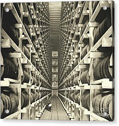 Distillery Barrel Racks 1905 Acrylic Print by Padre Art