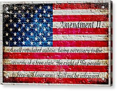 Distressed American Flag And Second Amendment On White Bricks Wall Acrylic Print