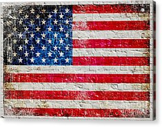 Distressed American Flag On Old Brick Wall - Horizontal Acrylic Print