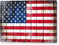Distressed American Flag On Wood Planks - Horizontal Acrylic Print
