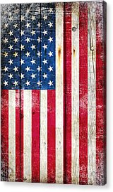 Distressed American Flag On Wood - Vertical Acrylic Print
