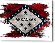 Distressed Arkansas Flag Acrylic Print by Jon Neidert