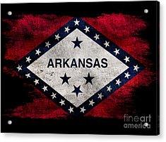 Distressed Arkansas Flag On Black Acrylic Print by Jon Neidert