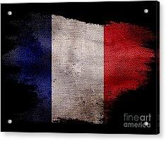 Distressed French Flag On Black Acrylic Print by Jon Neidert
