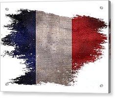Distressed French Flag On White Acrylic Print by Jon Neidert