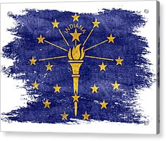Distressed Indiana Flag Acrylic Print by Jon Neidert