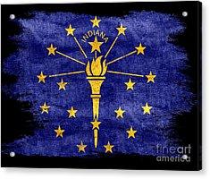 Distressed Indiana Flag On Black Acrylic Print by Jon Neidert