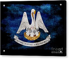 Distressed Louisiana Flag On Black Acrylic Print by Jon Neidert