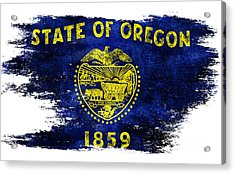 Distressed Oregon Flag Acrylic Print