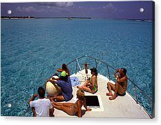 Diveboat At Little Cayman Acrylic Print by Carl Purcell