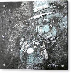Divine Blues Acrylic Print by Anne-D Mejaki - Art About You productions