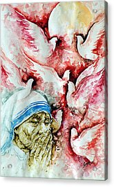 Divine Mother Teresa Acrylic Print by Pc