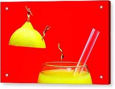 Diving Into Orange Juice Acrylic Print by Paul Ge