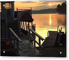 Dixie Boat Sunrise Acrylic Print