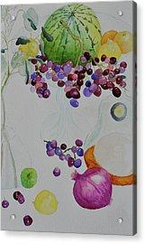 Acrylic Print featuring the painting Django's Grapes by Beverley Harper Tinsley