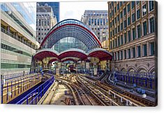Dlr Canary Wharf And Approaching Train Acrylic Print
