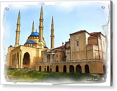 Acrylic Print featuring the photograph Do-00362al Amin Mosque And St George Maronite Cathedral by Digital Oil