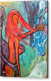 Acrylic Print featuring the painting Do What You Must - But Dont Forget The Children by Kenneth Agnello