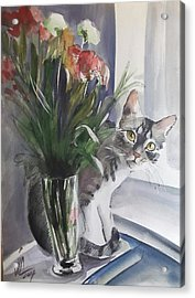 Do You See Me? Pet Portrait In Watercolor .modern Cat Art With Flowers  Acrylic Print