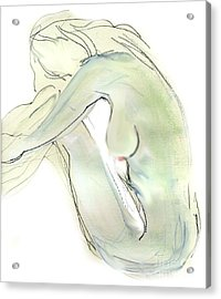 Acrylic Print featuring the drawing Do You Think - Female Nude by Carolyn Weltman