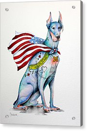 Doberman Napolean Acrylic Print by Patricia Lintner