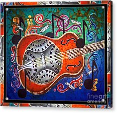 Dobro - Slide Guitar-bordered Acrylic Print by Sue Duda