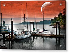 Dock And The Moon Acrylic Print