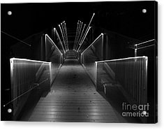 Dock Night Lights Acrylic Print by Skip Willits