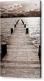 Dock Of Lake Tahoe With Views Of Mount Tallac Acrylic Print