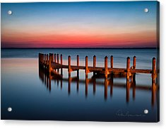 Dock On Currituck Sound 5665 Acrylic Print by Dan Beauvais